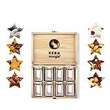 KERNenergie weihnachtliche Holzbox mit Nussmischungen | 480g frisch auf Bestellung geröstete Nüsse und KERNe in 8 weihnachtlichen Nussmischungen | Premium Feinkost Geschenk