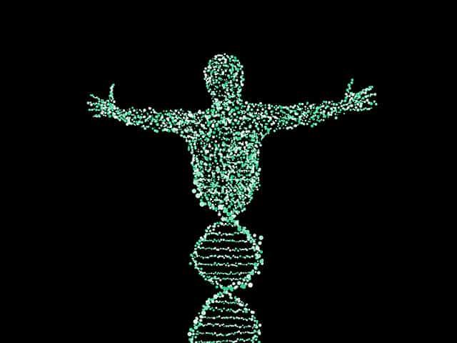 Mann in Form einer DNA