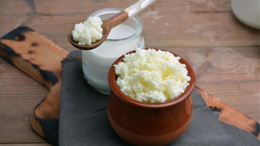 Welcher Kefir ist der beste - Kefir auf Holzlöffel mit Gärgefäß